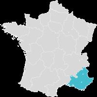 Carte de France avec zoom sur la région PACA