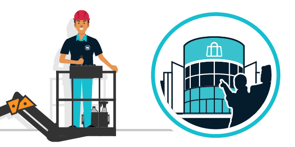 Illustration nettoyage centres commerciaux