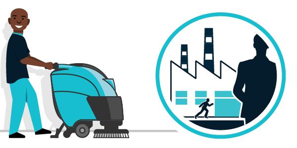 Illustration nettoyage secteur industrie, entrepôts, usines...