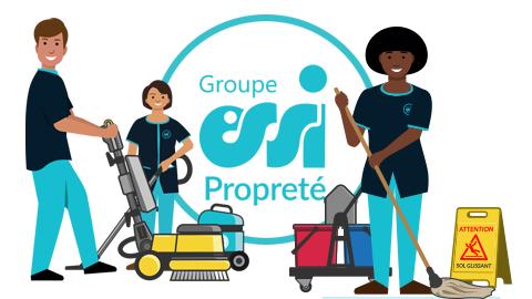 Illustration du métier d'agent d'entretien comprenant 1 homme et deux femmes en train d'utiliser du matériel de nettoyage.