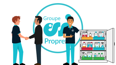 Illustration montrant un chef d'équipe d'un entreprise de propreté en train de saluer un client et un autre en train de montrer un local à produits ménagers parfaitement rangé.