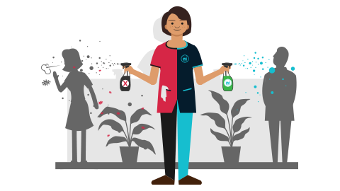 Illustration montrant un agent de nettoyage utilisant des alternatives aux produits chimiques