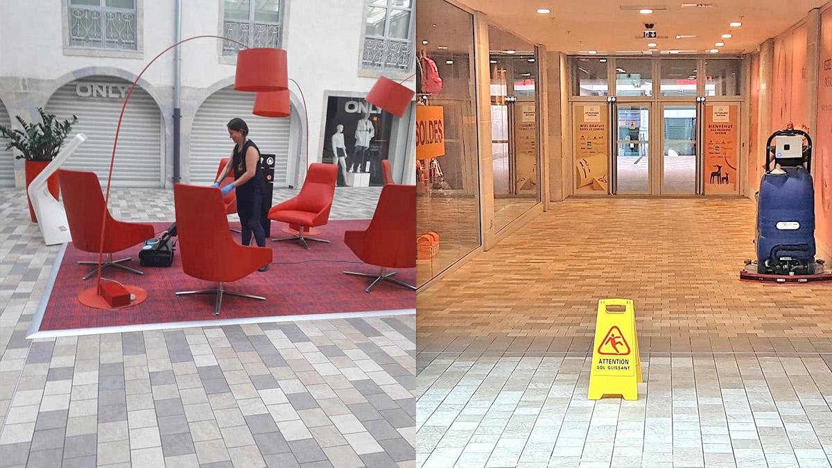 Agents de nettoyage dans un centre comemercial