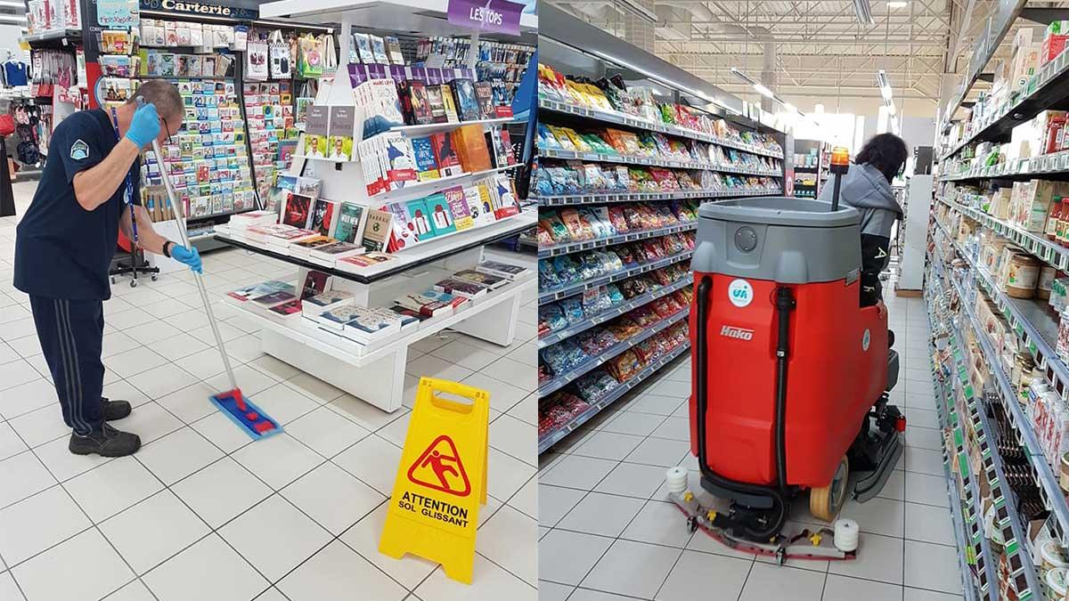 Équipe de nettoyage en train de nettoyer les allées d'un supermarché
