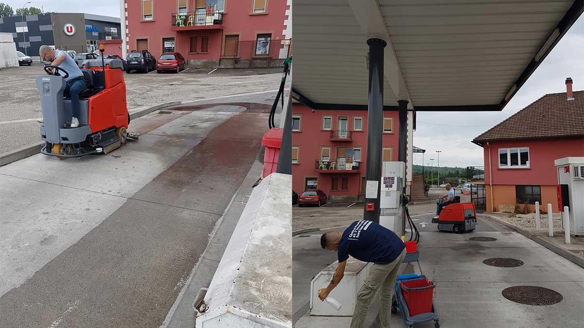 Nettoiement des abords d'un supermarché et de la station service