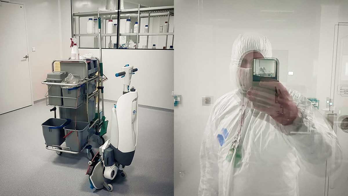 Matériel de nettoyage et de désinfection en salle blanche dans un laboratoire pharmaceutique