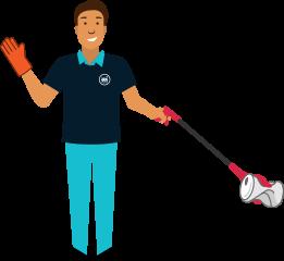 Matériel ergonomique : agent de nettoyage utilisant une pince à déchets lors du ramassage